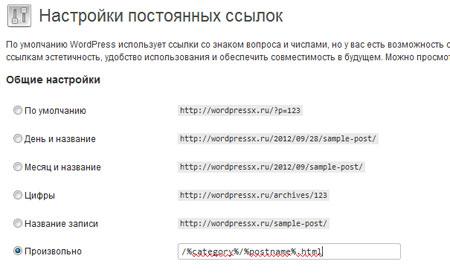 Скриншот настроек ЧПУ wordpress